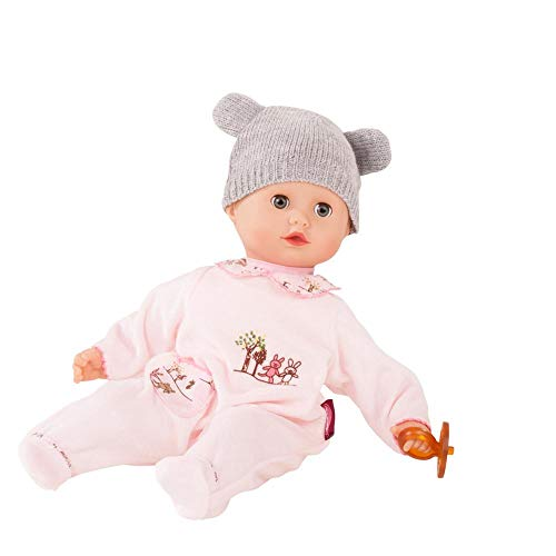 """Gotz Muffin Companions 13"""" Bald Baby Doll with Blue Sleeping Eyes, Pink Bunny Pajama"""