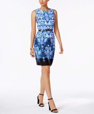 Connected Women's Belted Printed Sheath Dress (18, Royal) Blue