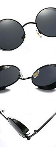 214ac6b68b Ronsou Steampunk Style Round Vintage Polarized Sunglasses Retro Eyewear  UV400 Protection Matel Frame black frame