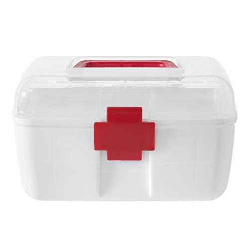 First Aid Clear Top Case w/ Removable Tray & Handle, Family Emergency Kit Storage (Supply Kit Cross Handle)