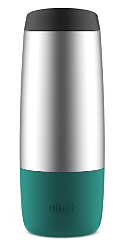 Ello Taza de Viaje de Doble Pared sin BPA, de plástico, con Aislamiento, Color Verde Azulado, 40,6 ML