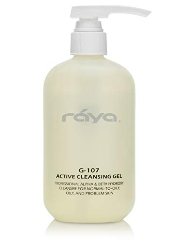 RAYA Active Facial Cleansing Gel with AHA and BHA 16 oz (G-107) | Oil-Free and Exfoliating Deep Pore Gel Cleanser for Oily and Break-Out Skin | Made with Alpha and Beta Hydroxy Acids (Best Aha Skin Products)