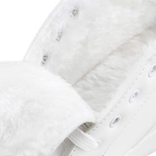 Chaussures Wealsex Dentelle De Tennis Fourrure Doublure Femme Mesh Cuir Compensées Blanc Pu Sneaker Baskets 6zYqw8rv6