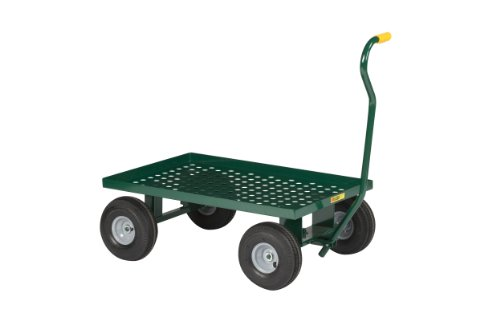 "Little Giant LWP-2436-10-G Steel Perforated Deck Wagon Truck with 1-1/2"" Lip, 10"" x 2-3/4"" Solid Rubber Wheel, Green, 1200 lbs Load Capacity, 24"" Width x 36"" Length"