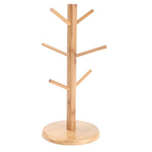Fun in Family Mug Tree, Mug Holder Drying Rack, Bamboo Mug Stand for Coffee Mugs, Tee Cups, Glasses, and Cups, with 6 Hooks