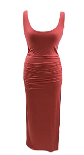 Stylish Slim Long Ruch Red Split Scoop Womens Neck Sleeveless Pure Jaycargogo Dresses Color SAxH1wq5gF