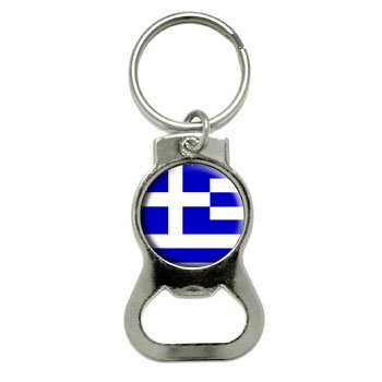 Graphics and More Greece Greek Flag Bottle Cap Opener Keychain (KB0526) (Greek Bottle Opener Keychain compare prices)