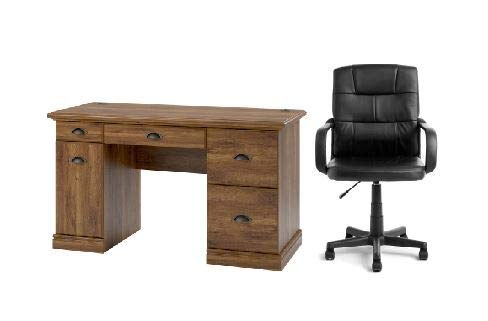 Better Homes and Gardens Computer Desk with Filing Drawers in Oak & Mainstays Tufted Leather Mid-Back Office Chair in Black.