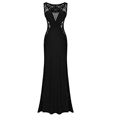 Kearia Women Nude Illusion V Neck Sexy Lace Prom Evening Gowns Lace Long Dress