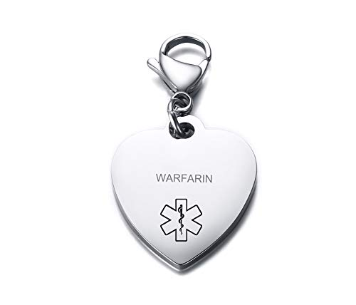 VNOX WARFARIN Medical Alert Symbol Stainless Steel Heart Shape ID Tag Keychain,Charm for Bracelet Handmade Jewelry (Tag Heart Keychain)