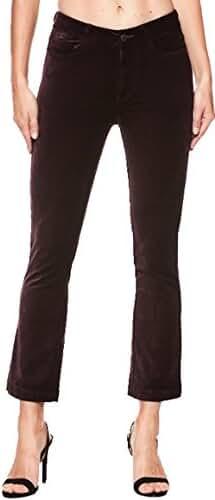 PAIGE WOMEN'S JEAN COLETTE CROP FLARE BLACK CHERRY VELVET JEAN 3089A66 3307