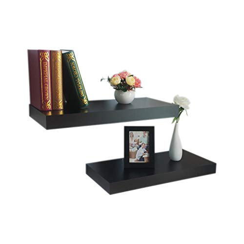 HAO Set of 2,10 Depth Household Floating Wall Display Shelves Bookshelves for Wall with Invisible Bracket,Approx 24 Inch - Black