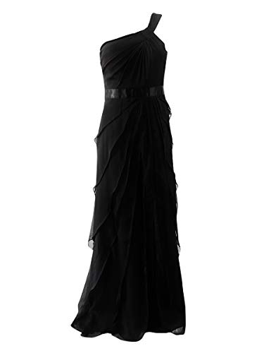 - Adrianna Papell Women's Draped One Shoulder Chiffon Flutter, Black, 8