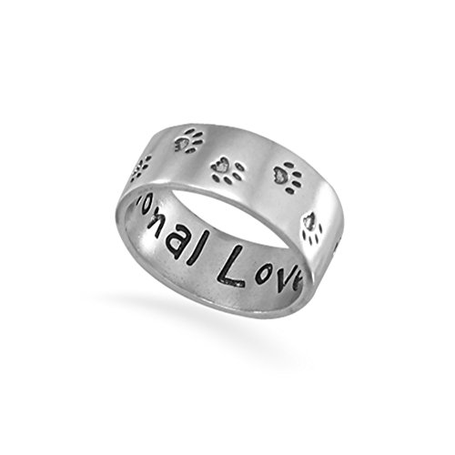 Paw Print Band Ring with Inscription - Unconditional Love - Sterling Silver, Size 11