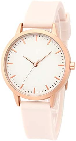 Pink beautiful ladies watches Rose gold case with simple white dial Pink silicone strap Simple and stylish ladies watch