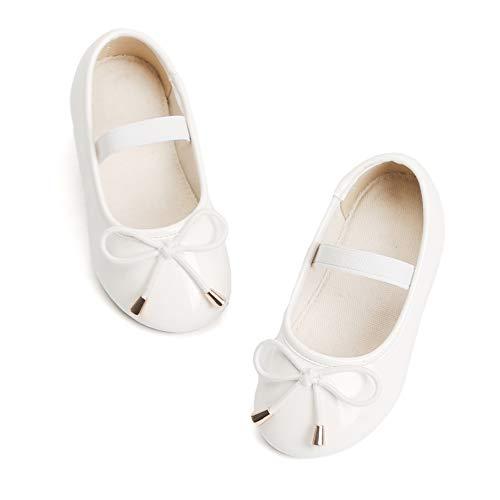 Bear Mall Girl Shoes Mary Jane Dress Shoes for Little Girl Toddler Ballet Flat (12 M US Little Kid, B801 White)