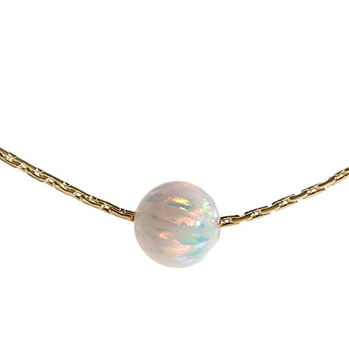 Opal Bead Necklace 14k Gold Filled Cable Wire White Opal Stone,16 inch+extension ()