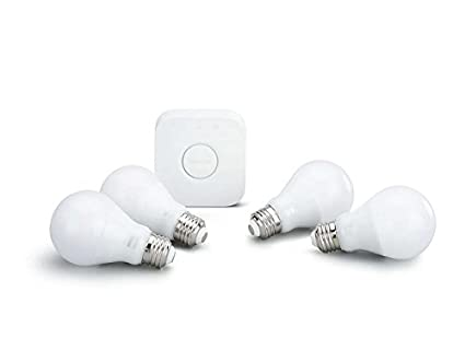 Philips Hue White 3rd Generation A19 Dimmable Smart Led 4 Bulb Kit With 2nd Gen Bridge (Certified Refurbished) by Philips