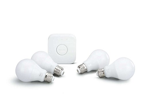 Philips Hue White 3rd Generation A19 Dimmable Smart LED 4-Bulb Kit with 2nd Gen Bridge (Certified Refurbished) by Philips
