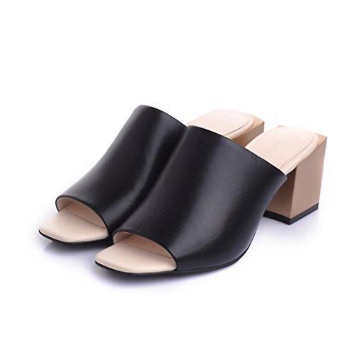 Alta Rough Mujer Zapatillas Talón Casual Negro Mhgao Nueva Sandalias Piel S5IOwnYq