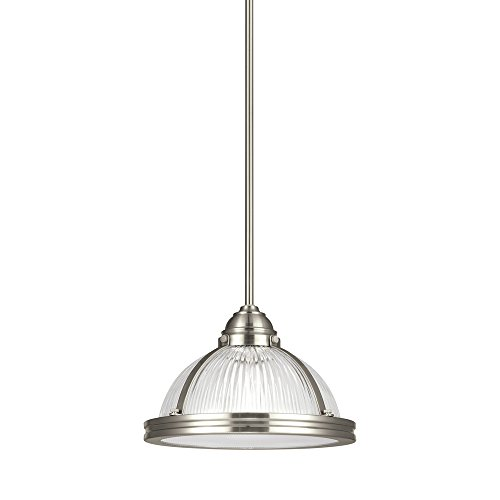 (Sea Gull Lighting 65060-962 Pratt Street Prismatic One-Light Pendant with Clear Textured Glass, Brushed Nickel Finish)