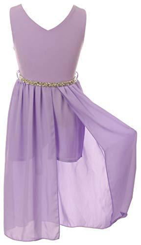 Big Girls Sleeveless V Neck Rhinestones Chiffon Short Pant Romper Jumpsuit Lilac 12 (2J1K69S)