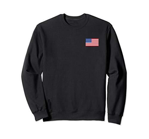 US American Flag Pocket Print Pullover Crewneck Sweatshirt ()