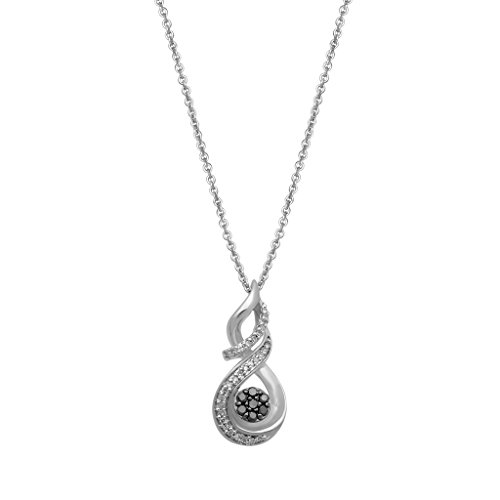 """Jewelili Sterling Silver 1/5ct Black and White Diamond Twist Cluster Pendant Necklace, 18"""" (Diamond Necklace Pave Silver)"""