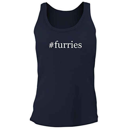Tracy Gifts #Furries - Women's Junior Cut Hashtag Adult Tank Top, Navy, - Knit Furry Hem
