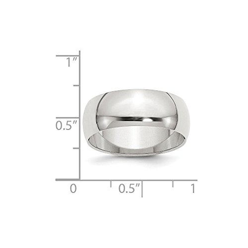 Sterling Silver Engravable 8in 8mm Half-Round Band