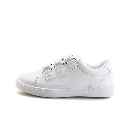 Xiafen Heren Herfst Witte Velcro Comfortabele Casual Mode Sneakers Schoenen Wit