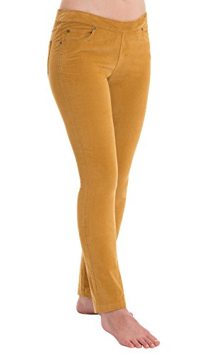 PajamaJeans Women's Skinny Stretch Corduroy Pants, Honey, LRG (12-14) - Stretch Pinwale Corduroy