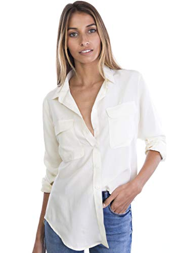 CAMIXA Womens 100% Silk Blouses Ladies Shirt Casual Pocket Button up Elegant Top XS Ivory