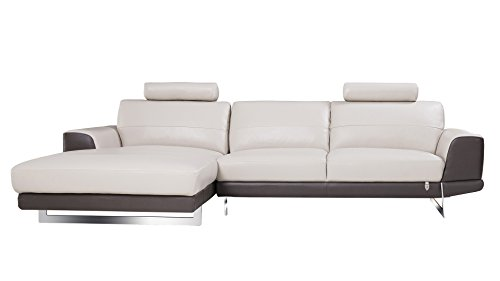 American Eagle Furniture EK-L062R-LG.TPE Austin Modern Italian Leather Left Facing Sectional, 114