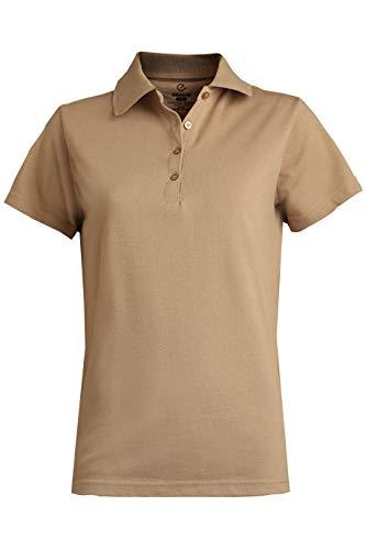 (Edwards Ladies' Blended Pique Short Sleeve Polo Medium TAN)