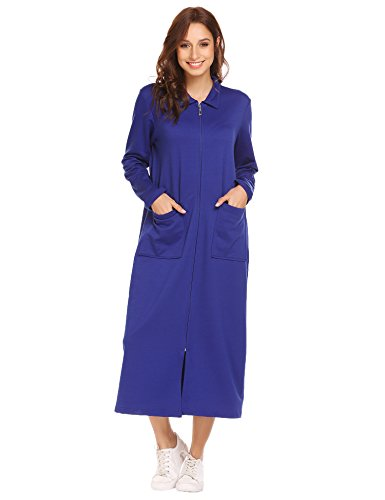 SE MIU Womens Robe Sleepwear With Pockets Zipper Front Soft Bathrobe Loungewear, Royal Blue, - Size Chart Miu Miu