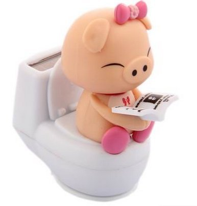 Auto upholstery Accessories solar shaking head dolls car furnishing articles Cartoon Doll ornaments Lovely toilet couple pig Pink