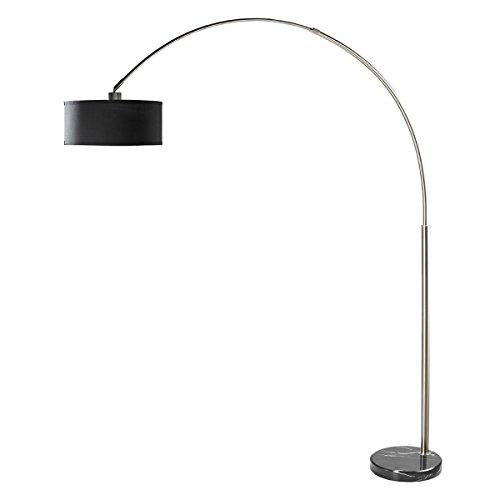 Milton Greens Stars A6938BK-2 Sophia Adjustable Arc Floor Lamp with Marble Base, Black - Marble Lamp Floor Base