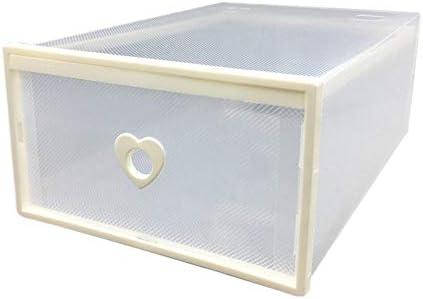 Tipo de cajón de mujer Caja de zapatos transparente con bordes de plástico grueso Caja de zapatos en forma de corazón para mujer blanca