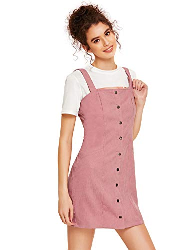 Floerns Women's Cute Strap Button up Corduroy Overall Sheath Pinafore Dress Pink -