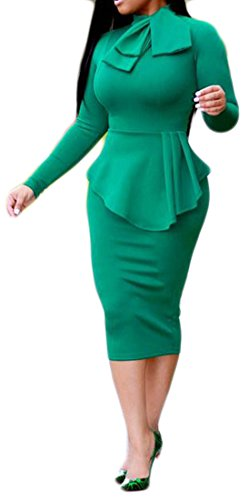 Dress Long Bodycon Pencil Work Cromoncent Green Fit Sleeve Womens Slim Ruffle ntgz0
