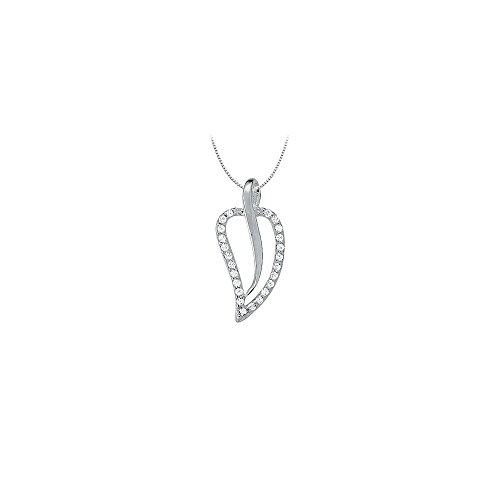 Diamond Leaf Pendant in 14K White Gold 0.25 CT TDWPerfect Jewelry Gift for Women ()
