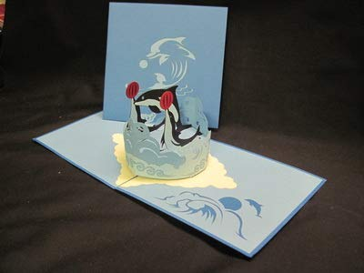 3D Pop Up Card, Dolphin Card, 6x6