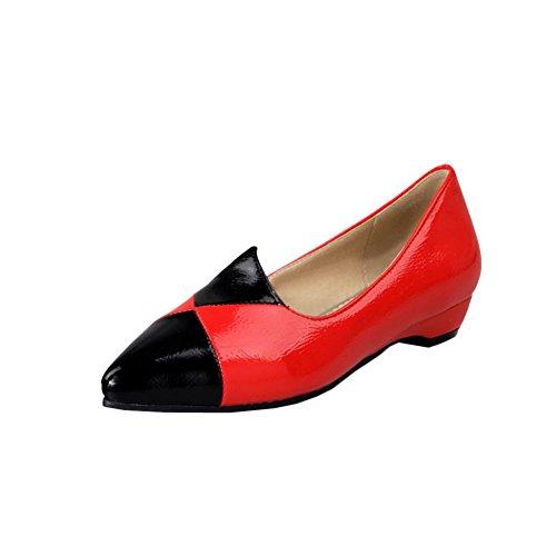 Carolbar Dames Wees Teen Lakleer Assorti Kleuren Lage Hak Loafers Schoenen Rood