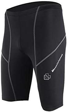 短いフィットネス スポーツタイツパンツ速乾性のフィットネスコンプレッションストレッチトレーニングショーツ スポーツショーツ (色 : Black, Size : M)