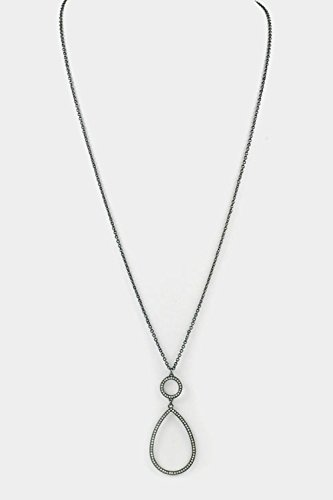 Karmas Canvas Tear Drop with Crystal Accent Pendant Long Necklace (Hematite)