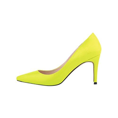 Fereshte Femmes Sexy Pu Cuir Bout Pointu Pompes Stiletto Mince Chaussures Fluorescent Jaune