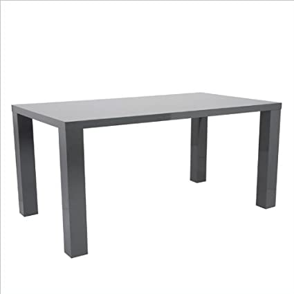 Eurostyle Abby 63u0026quot; Rectangular Dining Table In Gray Lacquer
