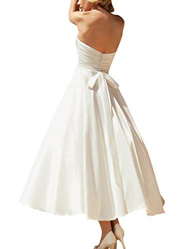 de Mujer Novia JAEDEN con Tirantes Sin Vestido al de Boda Blanco Vestido Cinta Satén Ternero ZCvqCwB