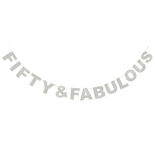 Fifty and Fabulous Banner Silver Glitter Funny Wedding Anniversary 50th Birthday 50 Years Old Party Decoration Sign